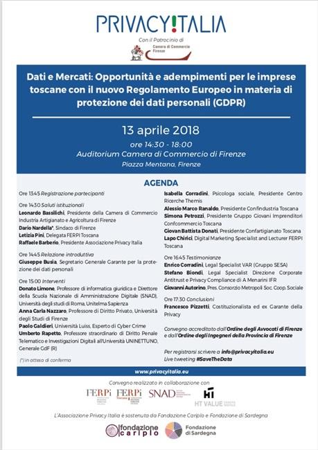 Convegno Privacy Italia con il Patrocinio della Camera di Commercio di Firenze