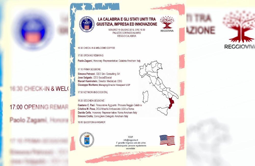 A Palazzo Alvaro l'incontro: La Calabria e gli Stati Uniti tra Giustizia, Impresa ed Innovazione