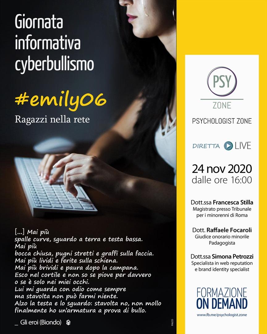 #Emily06, ragazzi nella rete in diretta per Psychologist Zone, martedì 24 il webinar per la giornata informativa sul cyberbullismo