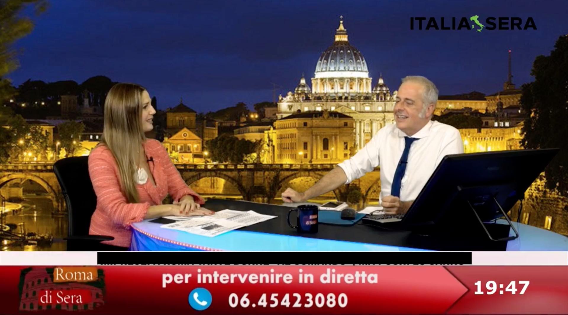 Simona Petrozzi a Roma di Sera, programma di Andrea Bozzi su Italia Sera, per parlare delle recenti uscite editoriali