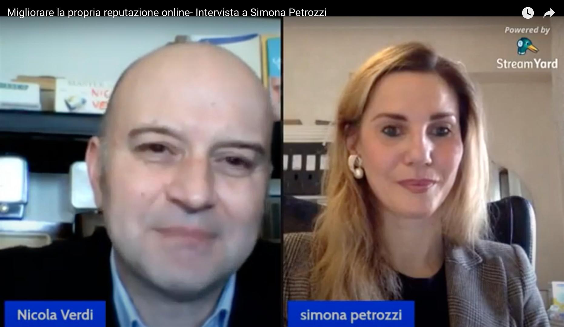 Simona Petrozzi intervistata da Nicola Verdi sulla Web Reputation