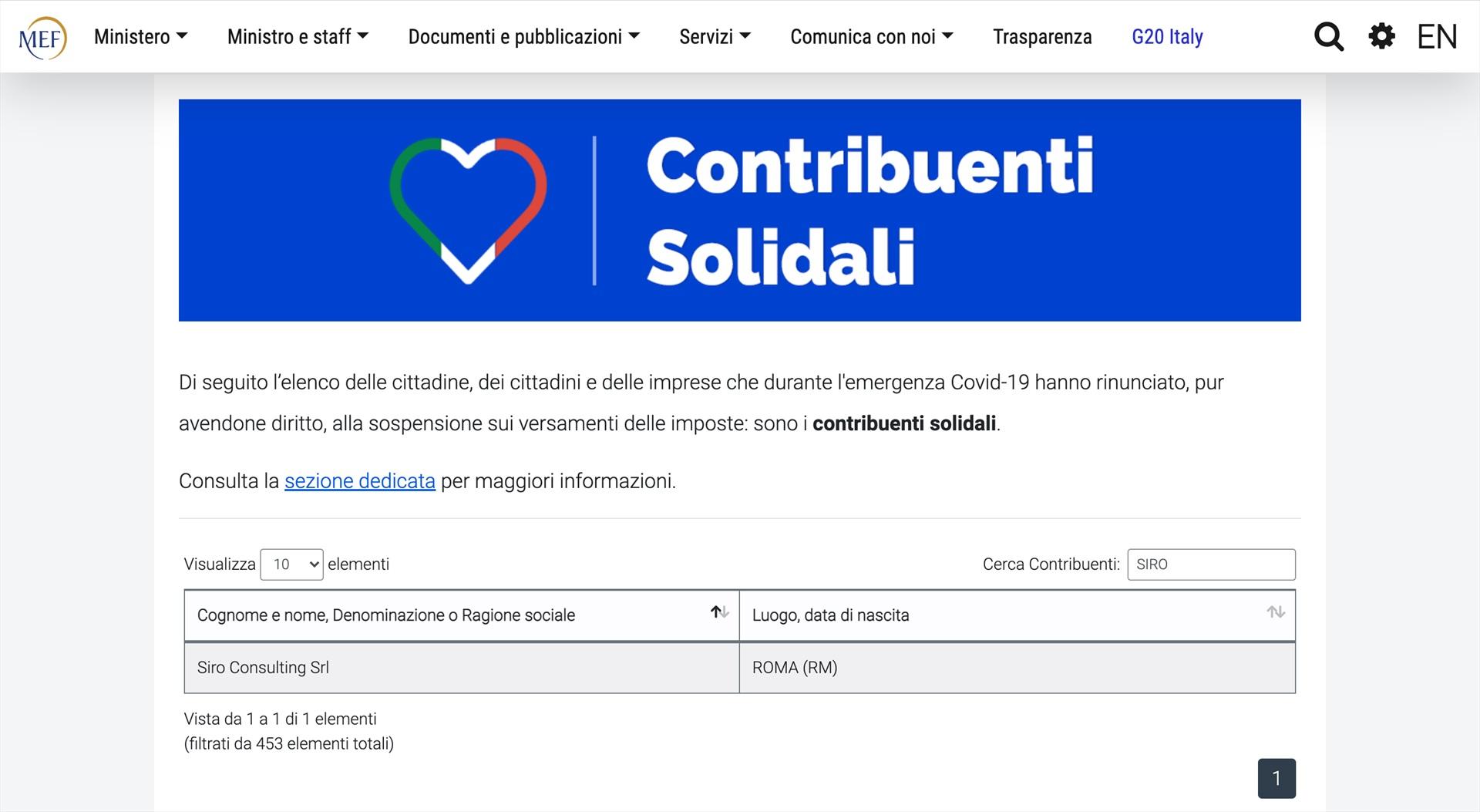 SIRO Consulting Contribuente Solidale per il Ministero dell'Economia e delle Finanze